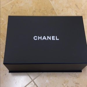 Chanel box with Camellia and ribbon 12x 4 1/2 x 8